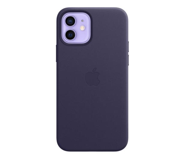Apple Skórzane etui iPhone 12 12Pro ciemny fiolet - 648983 - zdjęcie