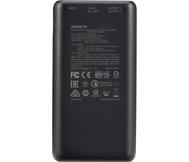 ADATA Power Bank P20000QCD 20000mAh czarny - 645542 - zdjęcie 4