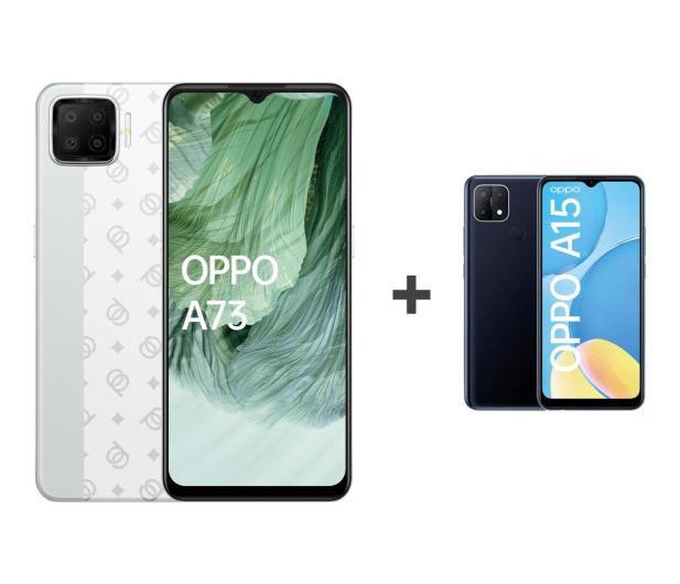 OPPO A73 4/128GB AMOLED NFC Biały+A15 2/32GB Czarny - 652137 - zdjęcie