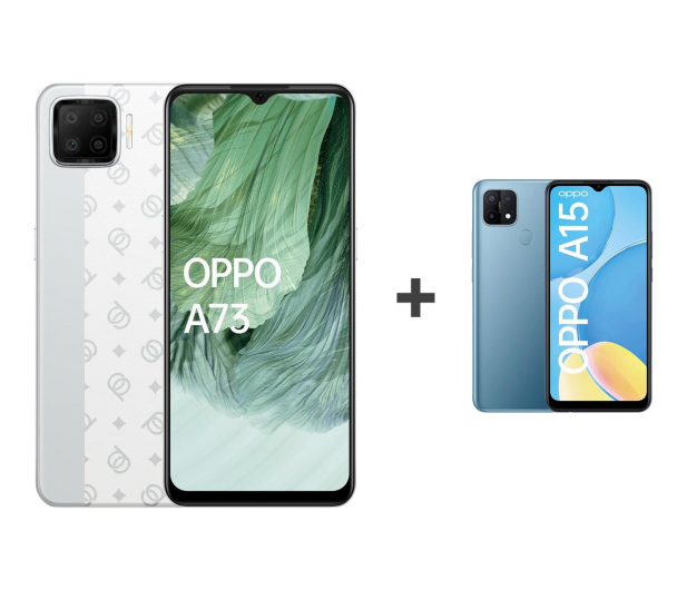 OPPO A73 4/128GB AMOLED NFC Biały+A15 2/32GB Niebieski - 652138 - zdjęcie