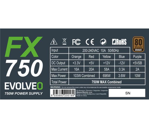 Evolveo FX750 750W 80 Plus Bronze - 668615 - zdjęcie 3
