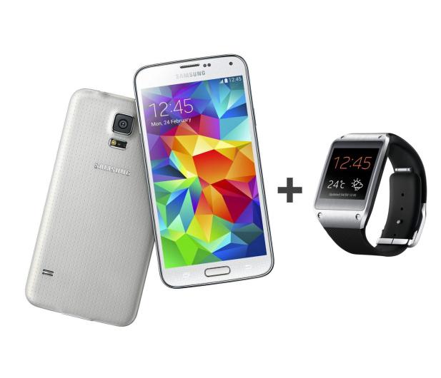 Samsung Galaxy S5 G900 biały + Galaxy Gear czarny - 179422 - zdjęcie