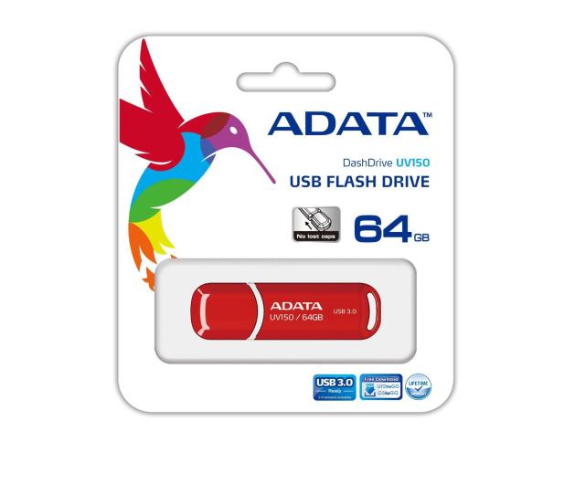 ADATA 64GB DashDrive UV150 czerwony (USB 3.1) - 262334 - zdjęcie 3