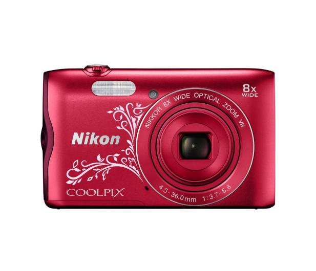 Nikon Coolpix A300 czerwony z ornamentem - 314043 - zdjęcie