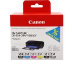 Canon Zestaw 6 tuszów CLI-551 CMYK + PGI-550PGBK  (6496B005)
