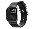 Nomad Pasek Skórzany do Apple Watch czarno-srebrny (NM1A31TM00)