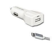 Qoltec Ładowarka samochodowa USB 2,4A + Lightning (MFI) - 432132 - zdjęcie 1