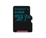 Kingston 64GB microSDXC Canvas Go! 90MB/s C10 UHS-I V30 - 410714 - zdjęcie 1