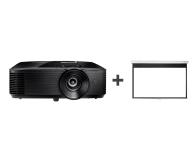 Optoma HD28e + Ekran ręczny 92' 203x114 16:9 Biały Matowy - 572341 - zdjęcie 1