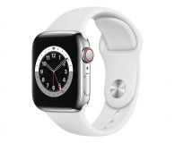 Apple Watch 6 40/Silver Steel/White Sport LTE - 593140 - zdjęcie 1