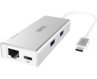 Unitek HUB USB-C (2x USB 3.0, Ethernet, USB-C) - 326055 - zdjęcie 1