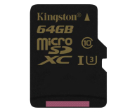Kingston 64GB microSDXC UHS-I U3 zapis 45MB/s odczyt 90MB/s (SDCG/64GB)