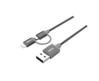 Unitek Kabel microUSB / Lightning 2 w 1 szary MFI (Y-C4031GY)
