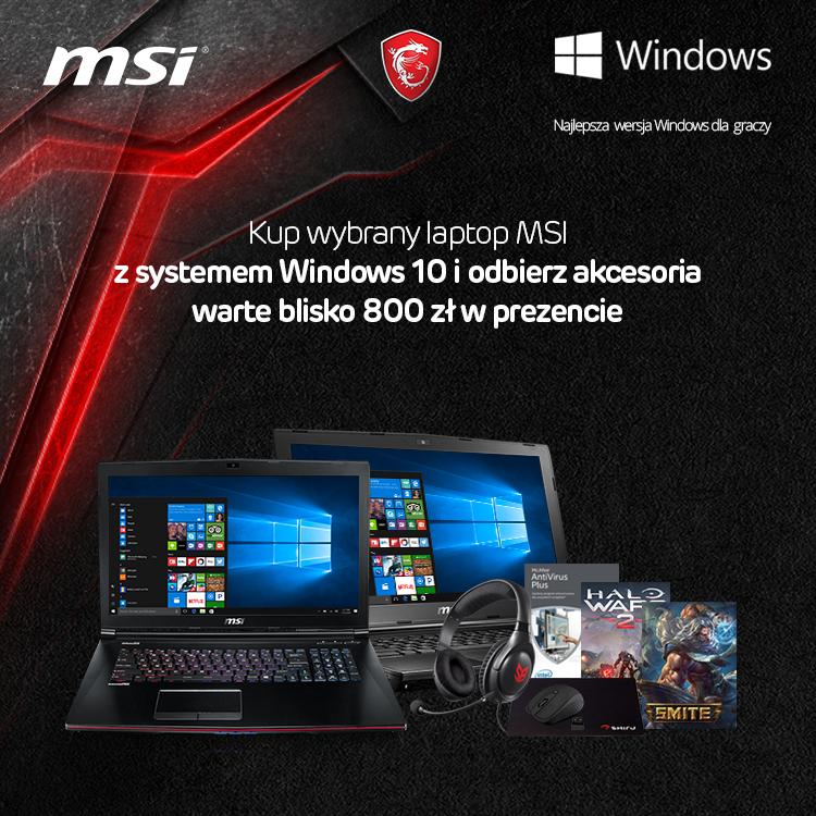 Laptopy MSI z systemem Windows 10 z paczką gier oraz gamingowych gratisów