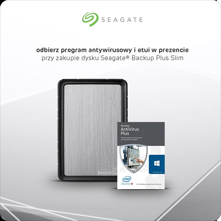 Dysk Seagate Backup Plus Slim 1 TB z antywirusem i etui