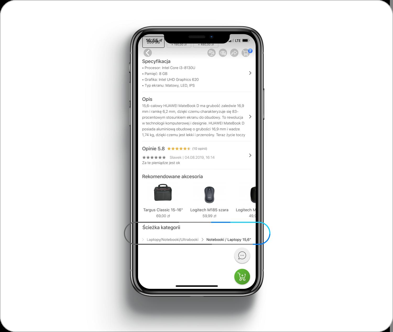 Ścieżka kategorii w aplikacji mobilnej x-kom