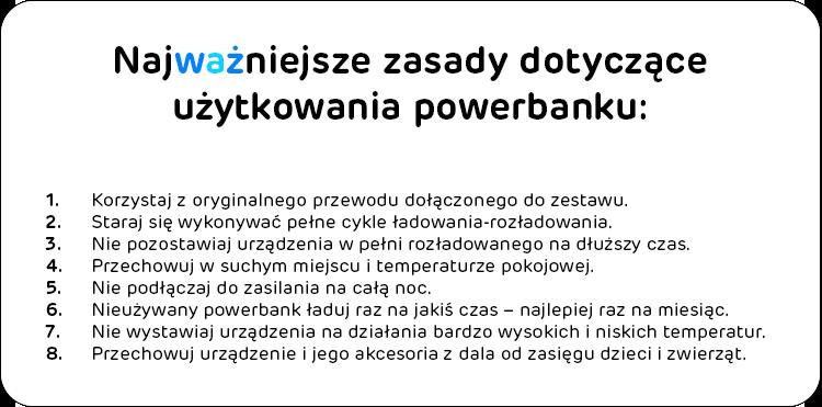 zasady użytkowania powerbanku