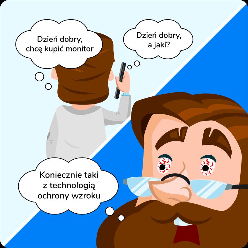 Monitor do biura z technologią ochrony wzroku