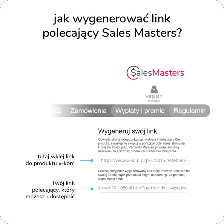 jak wygenerować link afiliacyjny Sales Masters?