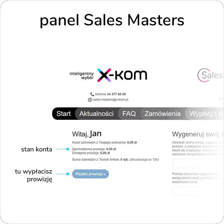 panel programu Sales Masters