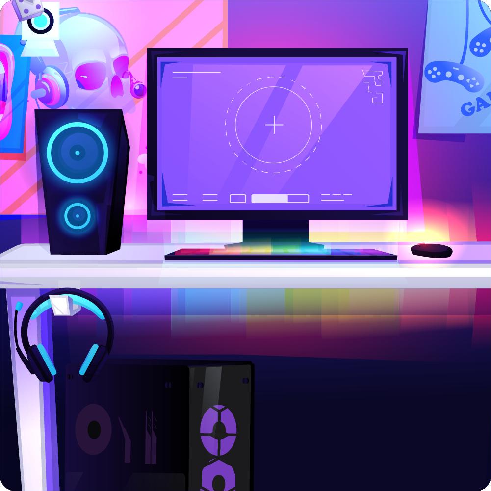 podświetlone peryferia LED RGB na biurku