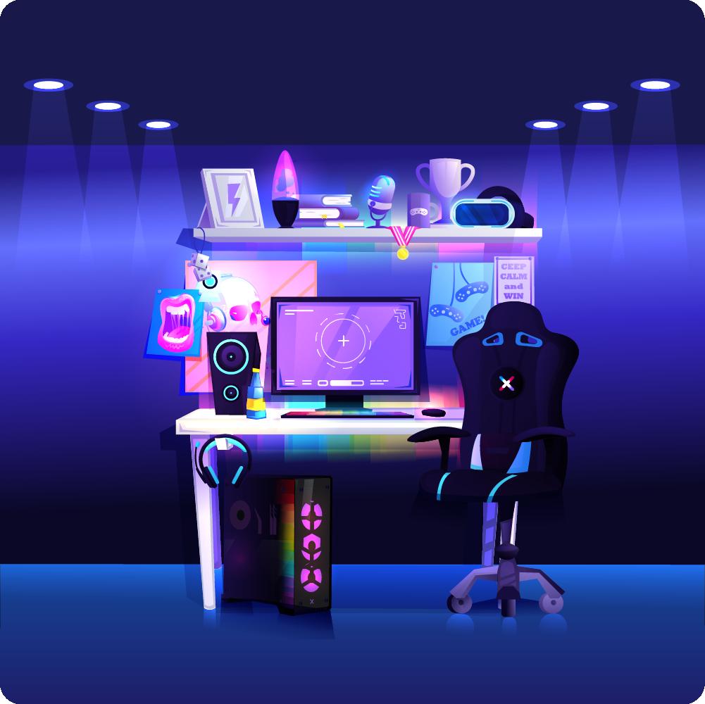 Podświetlone stanowisko gamingowe diodami LED RGB