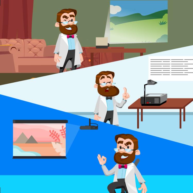 rzutnik, grafoskop i projektor multimedialny